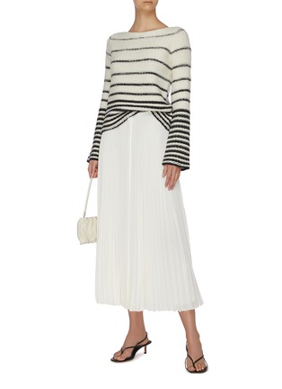Figure View - Click To Enlarge - THEORY - Waistband placket pleated midi skirt