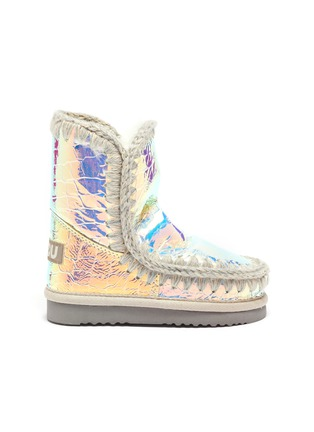 Main View - Click To Enlarge - MOU - 'Eskimo Tall' croc-embossed leather toddler winter boots