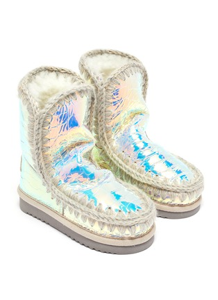 Figure View - Click To Enlarge - MOU - 'Eskimo Tall' croc-embossed leather toddler winter boots