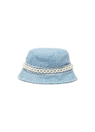 Main View - Click To Enlarge - LAURENCE & CHICO - Pearl embellished small denim bucket hat