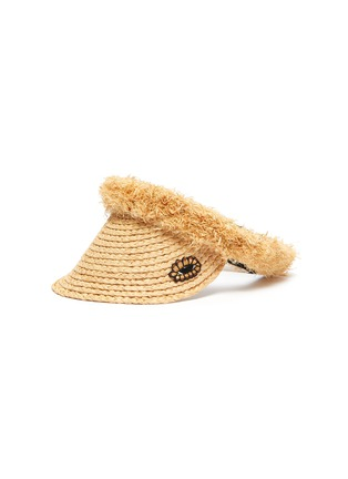 Main View - Click To Enlarge - LAURENCE & CHICO - Eye embroidered patch pearl embellished tassel straw visor