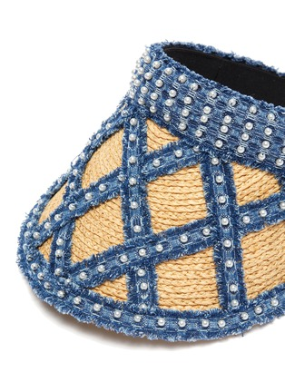 Detail View - Click To Enlarge - LAURENCE & CHICO - Pearl embellished denim straw visor