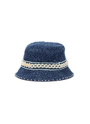 Figure View - Click To Enlarge - LAURENCE & CHICO - Pearl embellished small denim bucket hat