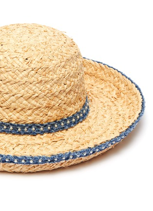 Detail View - Click To Enlarge - LAURENCE & CHICO - Pearl embellished denim trim straw hat