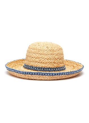 Main View - Click To Enlarge - LAURENCE & CHICO - Pearl embellished denim trim straw hat