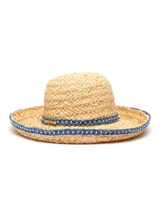 Figure View - Click To Enlarge - LAURENCE & CHICO - Pearl embellished denim trim straw hat