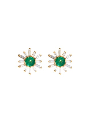 Main View - Click To Enlarge - SUZANNE KALAN - Diamond emerald 18k gold earrings