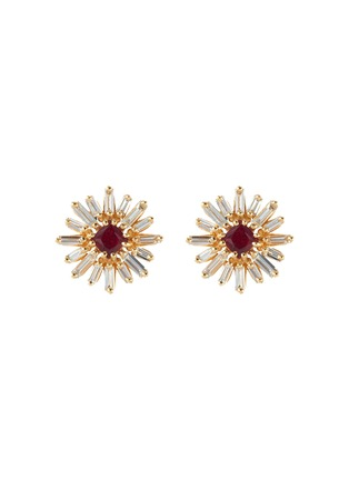 Main View - Click To Enlarge - SUZANNE KALAN - Diamond ruby 18k gold earrings