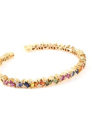 Detail View - Click To Enlarge - SUZANNE KALAN - 'Rainbow' diamond sapphire 18k gold bangle