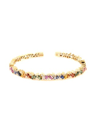 Main View - Click To Enlarge - SUZANNE KALAN - 'Rainbow' diamond sapphire 18k gold bangle