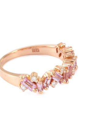 Detail View - Click To Enlarge - SUZANNE KALAN - 'Fireworks Bliss' diamond sapphire 18k rose gold half eternity ring