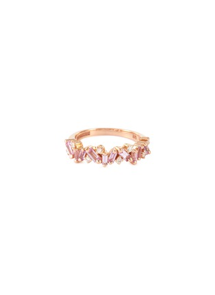 Main View - Click To Enlarge - SUZANNE KALAN - 'Fireworks Bliss' diamond sapphire 18k rose gold half eternity ring