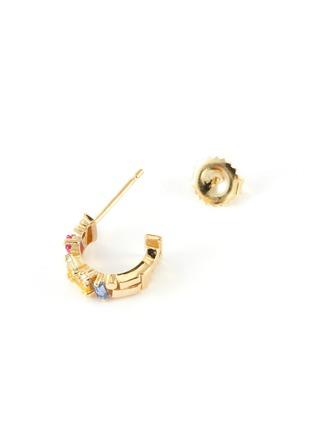 Detail View - Click To Enlarge - SUZANNE KALAN - 'Rainbow' diamond sapphire 18k gold hoop earrings