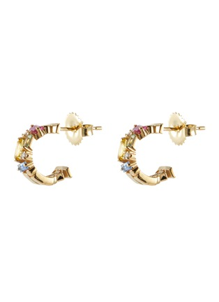 Main View - Click To Enlarge - SUZANNE KALAN - 'Rainbow' diamond sapphire 18k gold hoop earrings