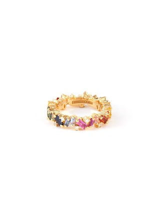 Main View - Click To Enlarge - SUZANNE KALAN - 'Frenzy' diamond sapphire 18k gold eternity ring