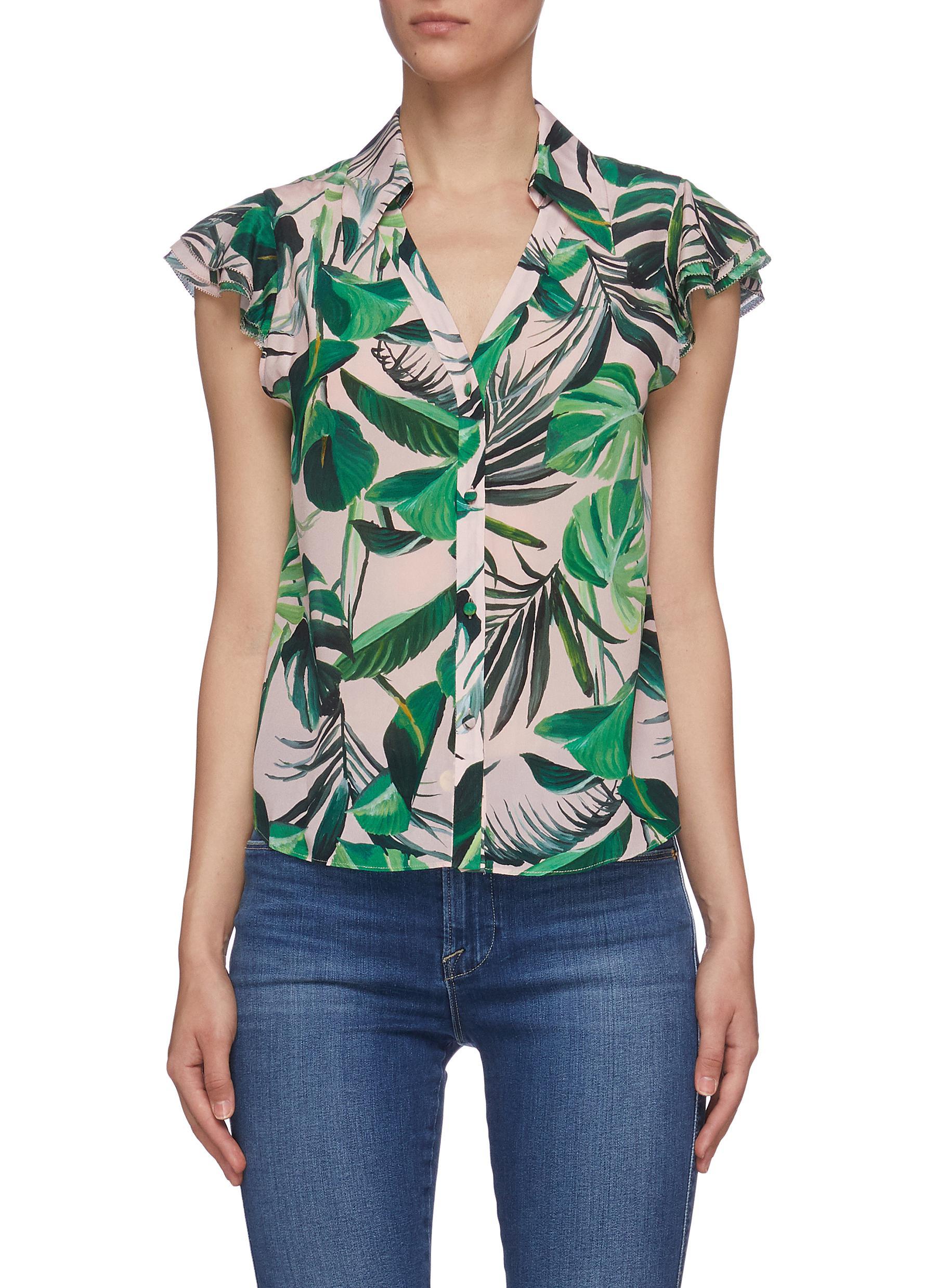 Randa' palm print ruffle sleeve silk henley shirt - ALICE + OLIVIA - Modalova