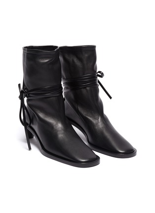 Detail View - Click To Enlarge - JIL SANDER - Structure Heel Ankle Wrap Tie Boots