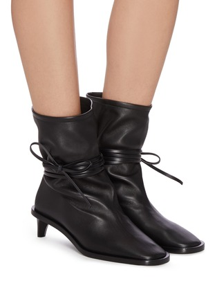Figure View - Click To Enlarge - JIL SANDER - Structure Heel Ankle Wrap Tie Boots