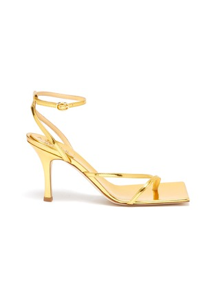 Main View - Click To Enlarge - A.W.A.K.E. MODE - DELTA' Asymmetric Strap Square Toe Heeled Sandals