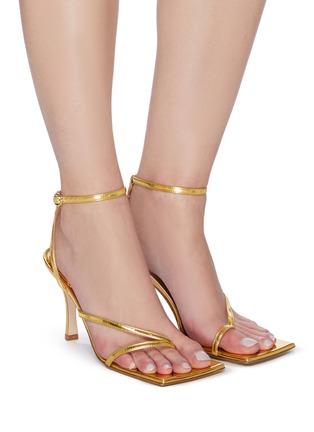 Figure View - Click To Enlarge - A.W.A.K.E. MODE - DELTA' Asymmetric Strap Square Toe Heeled Sandals