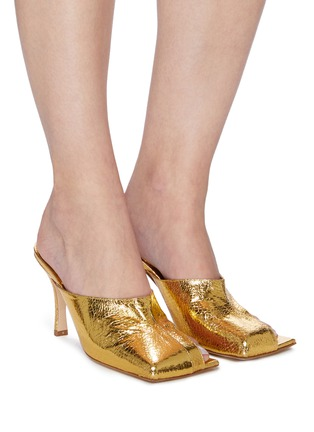 Figure View - Click To Enlarge - A.W.A.K.E. MODE - 'MARY' Square Toe Crinkled Leather Heeled Mules