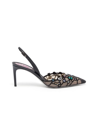 Main View - Click To Enlarge - RENÉ CAOVILLA - Peggy Guggenheim 'Museum Door' embellished slingback pumps