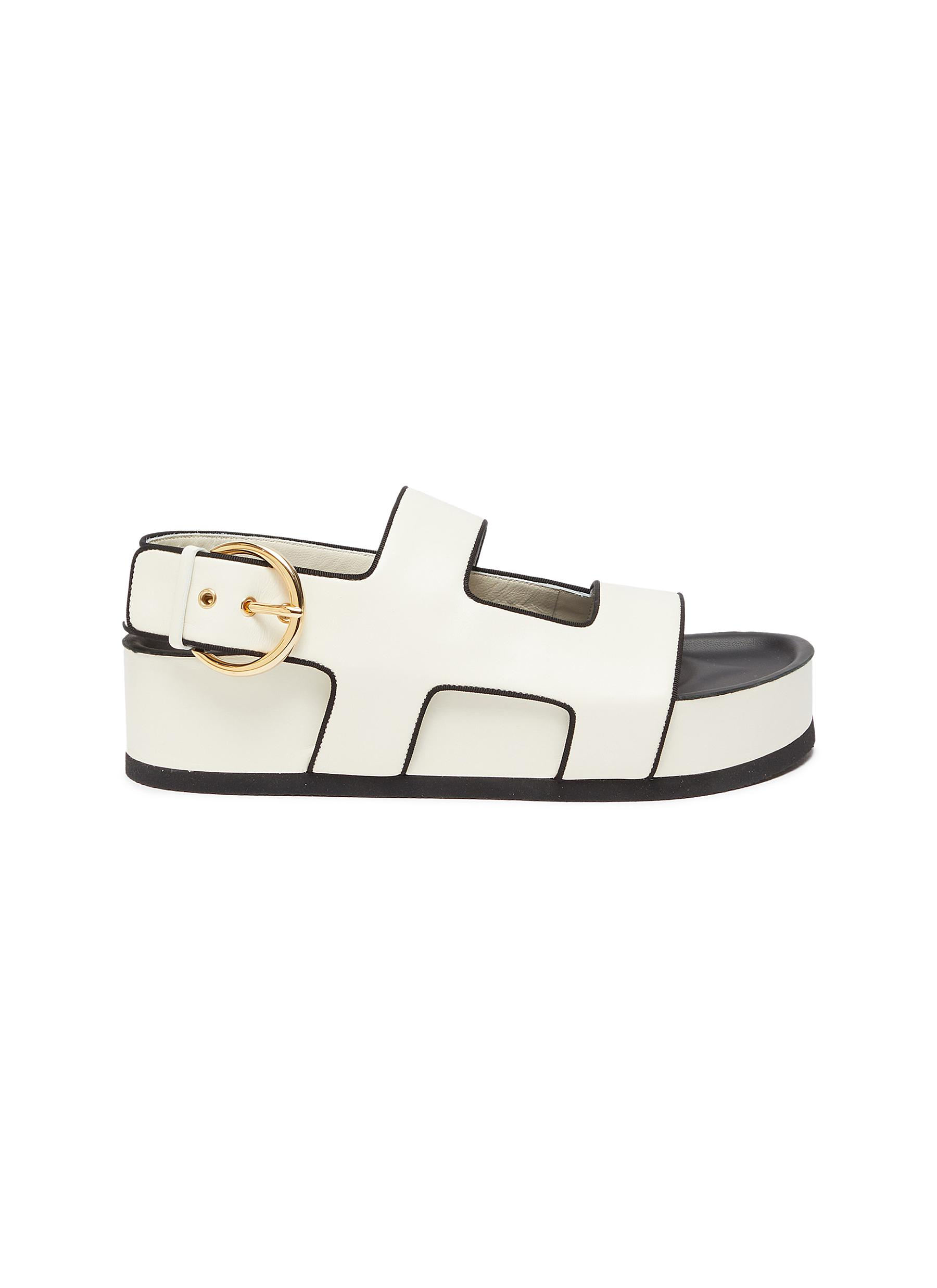 Neous 'CHER' RING BUCKLE PLATFORM LEATHER SANDALS