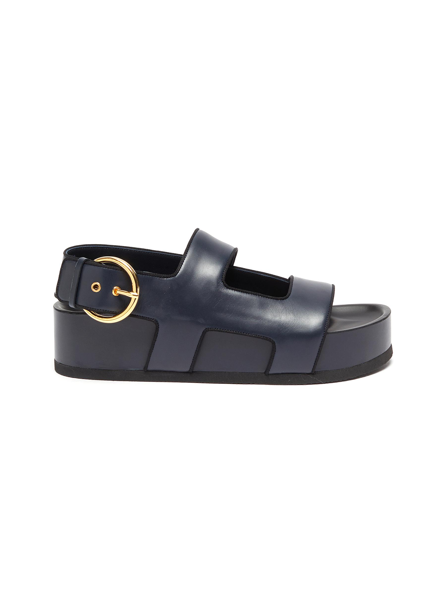 Neous Leathers 'CHER' RING BUCKLE PLATFORM LEATHER SANDALS
