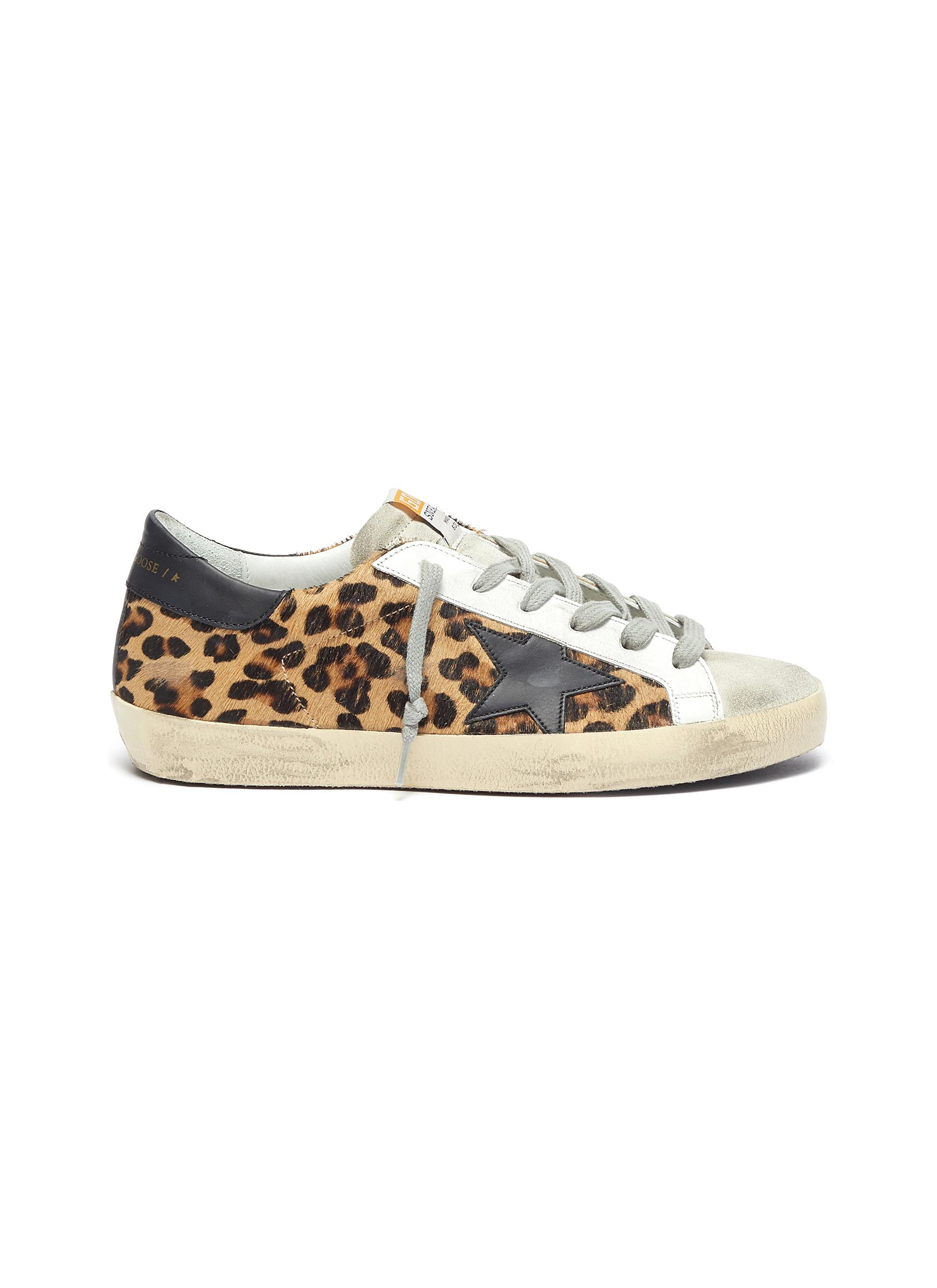Superstar' leopard print panel suede tongue sneakers