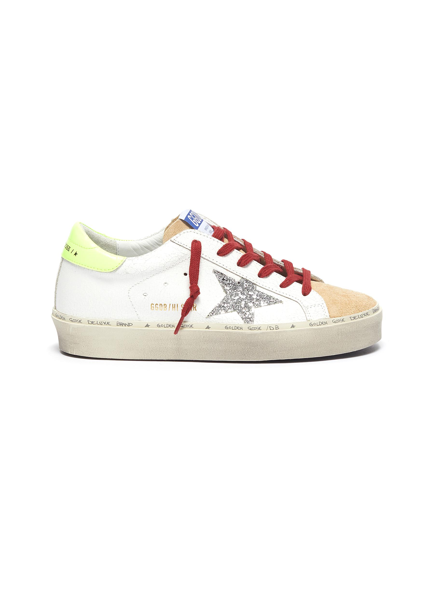 Glitter star textured and suede leather platform sneakers