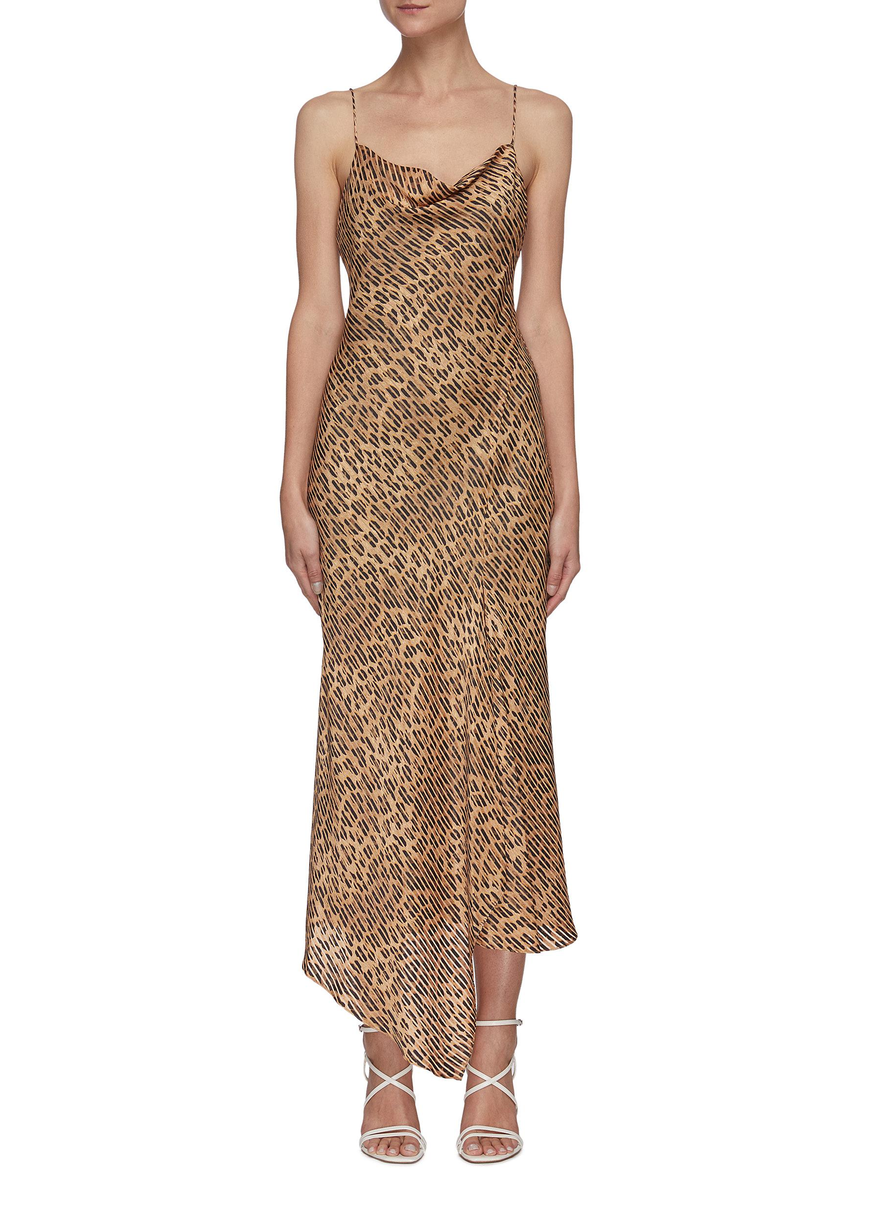HARMONY' Drape Collar Slit Front Asymmetric Slip Midi Dress - ALICE + OLIVIA - Modalova