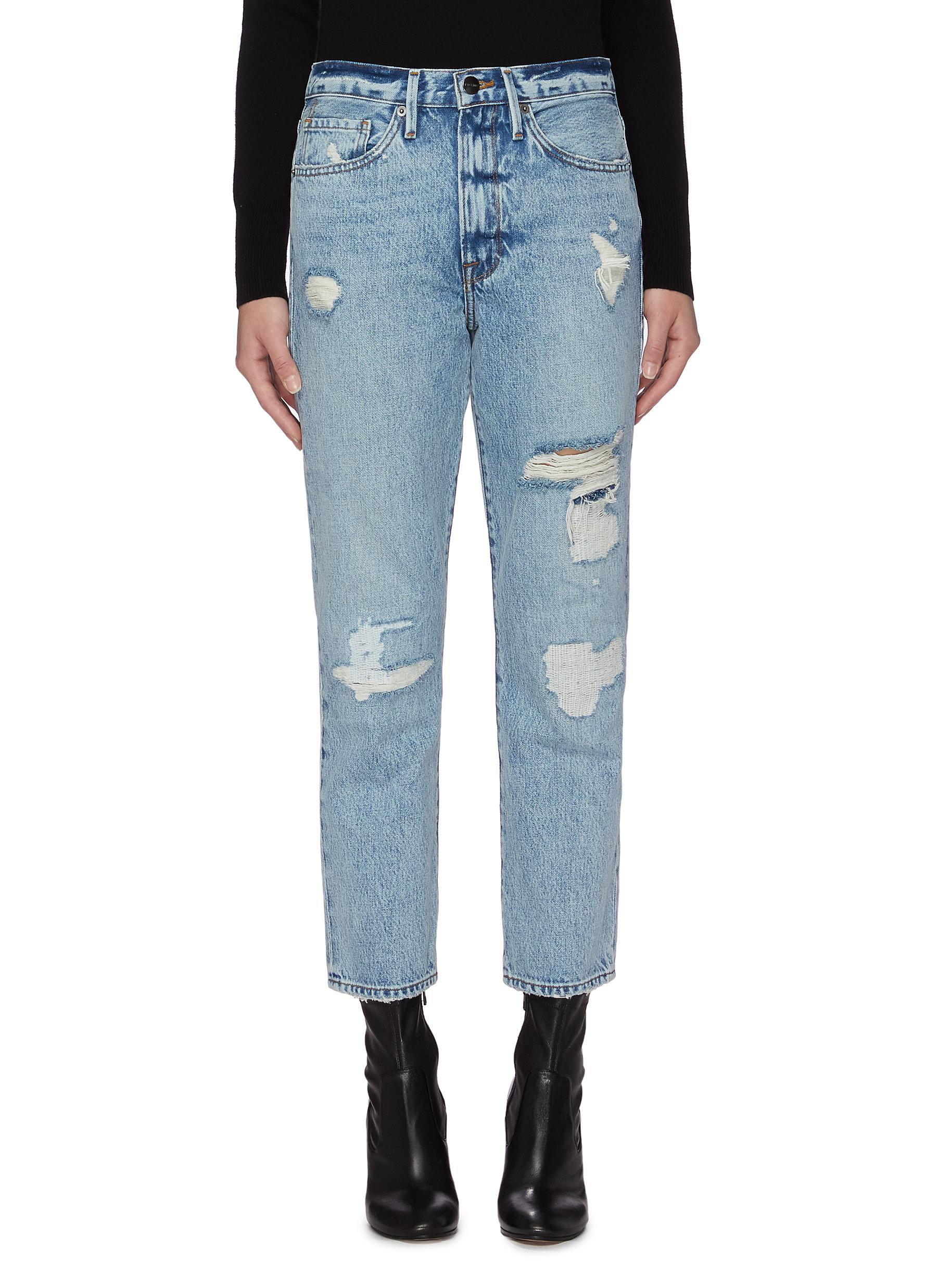 Frame 'LE PIPER' DISTRESSED STRAIGHT LEG JEANS
