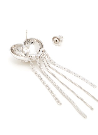 Detail View - Click To Enlarge - YVMIN - 'ElectronicGirl' Mechanical heart-shaped zirconia tassel earrings