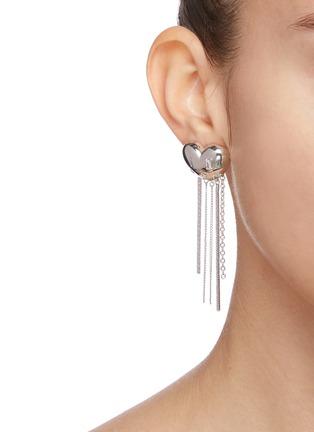 Figure View - Click To Enlarge - YVMIN - 'ElectronicGirl' Mechanical heart-shaped zirconia tassel earrings