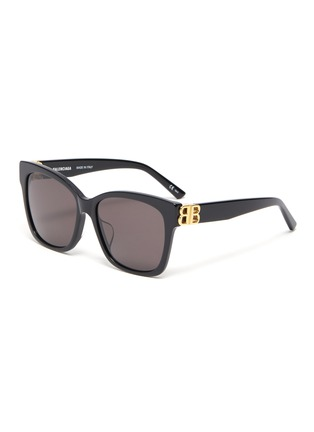 Main View - Click To Enlarge - BALENCIAGA - BB logo embellished acetate frame oversized sunglasses