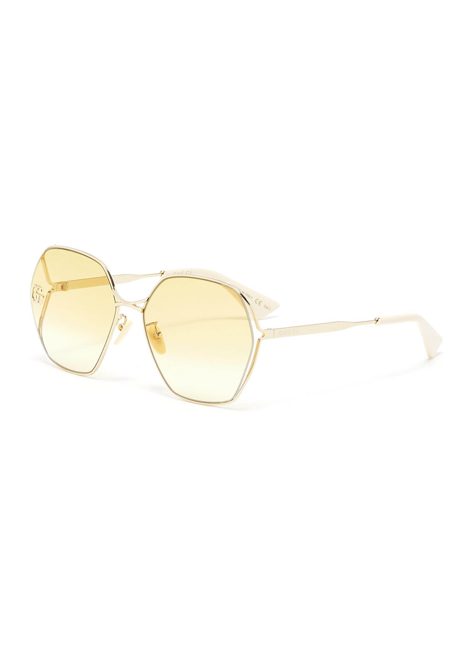 Gucci Sunglasses LOGO FORK HEXAGONAL METAL FRAME SUNGLASSES