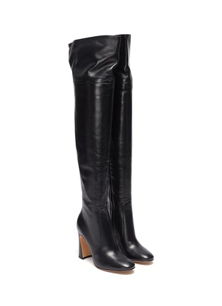 Detail View - Click To Enlarge - GIANVITO ROSSI - Sculptural Block Heel Knee High Boots