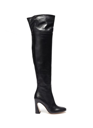 Main View - Click To Enlarge - GIANVITO ROSSI - Sculptural Block Heel Knee High Boots