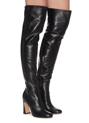 Figure View - Click To Enlarge - GIANVITO ROSSI - Sculptural Block Heel Knee High Boots