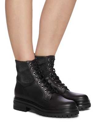 Figure View - Click To Enlarge - GIANVITO ROSSI - Leather combat boots
