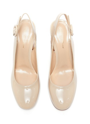 Detail View - Click To Enlarge - GIANVITO ROSSI - Flare heel slingback patent leather pumps