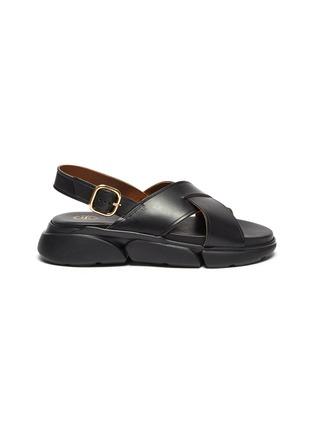 Main View - Click To Enlarge - ATP ATELIER - Barisci' Slingback Platform Leather Sandals