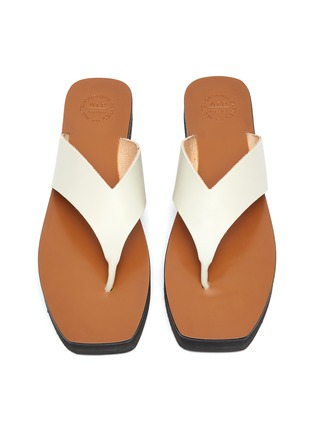 Detail View - Click To Enlarge - ATP ATELIER - Melitto' Square Toe Platform Leather Thong Sandals