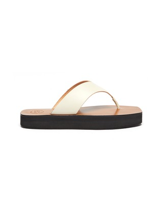 Main View - Click To Enlarge - ATP ATELIER - Melitto' Square Toe Platform Leather Thong Sandals