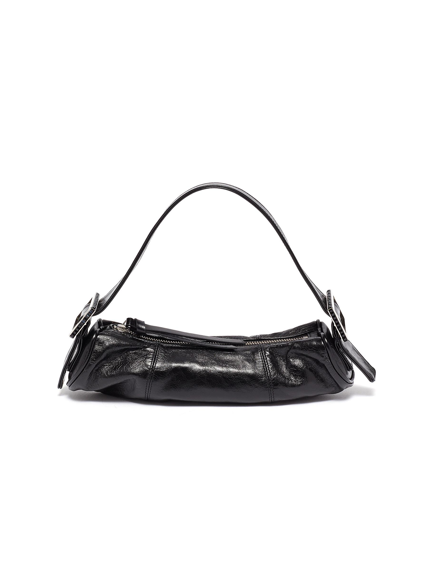 By Far 'KUBI' CRYSTAL BUCKLE LEATHER BAGUETTE BAG