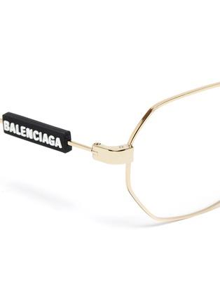 Detail View - Click To Enlarge - BALENCIAGA - Hexagonal metal frame optical glasses