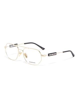 Main View - Click To Enlarge - BALENCIAGA - Hexagonal metal frame optical glasses
