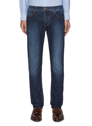 Main View - Click To Enlarge - ISAIA - Slim fit mid wash jeans
