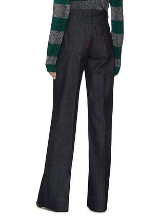 Back View - Click To Enlarge - VICTORIA BECKHAM - Centre Crease Patch Pocket Full Length Denim Jeans