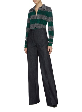 Figure View - Click To Enlarge - VICTORIA BECKHAM - Centre Crease Patch Pocket Full Length Denim Jeans